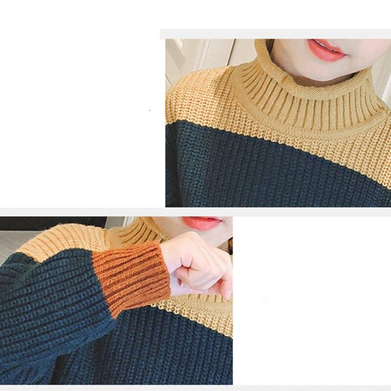 Купить с кэшбэком Kids Long Sleeve Patchwork Sweater for Girls Knitted Turtleneck Cashmere Pullover Child Fashion Knitwear Navy Khaki Brown Color