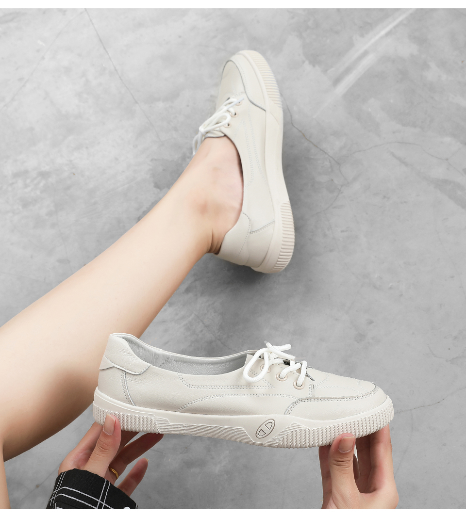 Women Casual Shoes Comfortable White Nude Sneakers Fashion Lace-Up Split Leather Girls Casual Flats Shoes