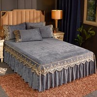 Crushed Velvet Embroidery Lace Bed Skirt Queen Qulited Bedspread Set King Full Double Elastic Bed Cover Fitted Sheet Pillowcases