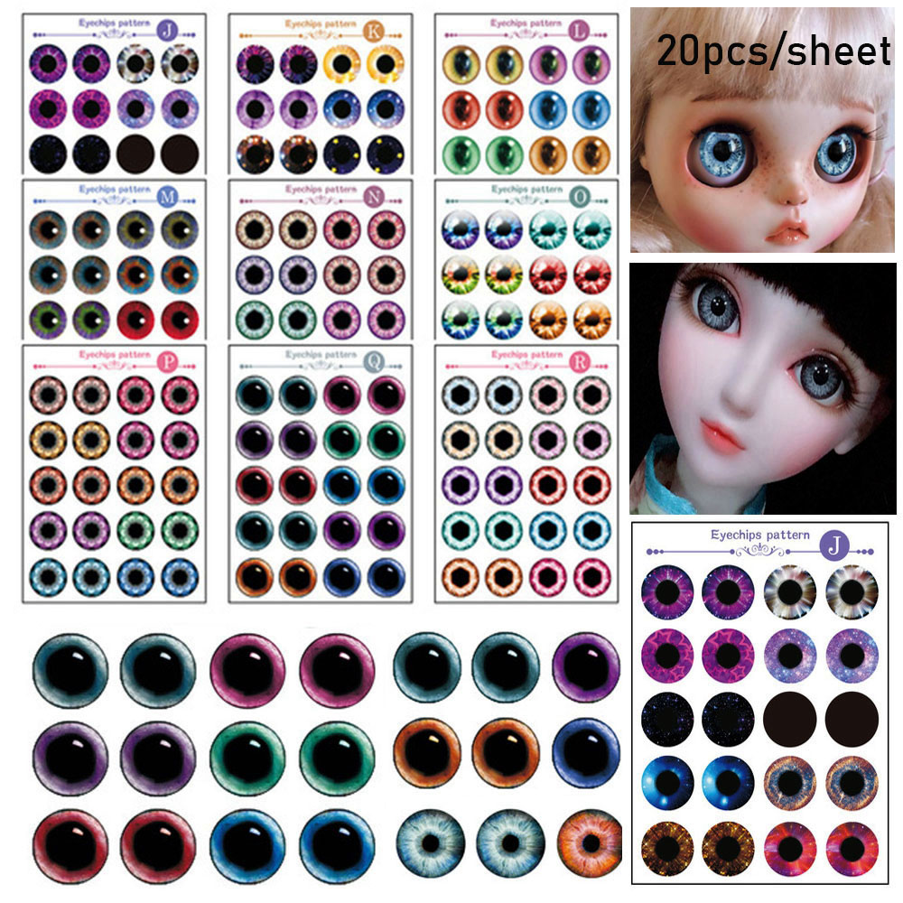 20 Pcs 14mm Doll Eyes Chips Paper Transparent Thin Glass Eye Stickers For DIY Doll Eyeball Customized Kids Toys Accessories