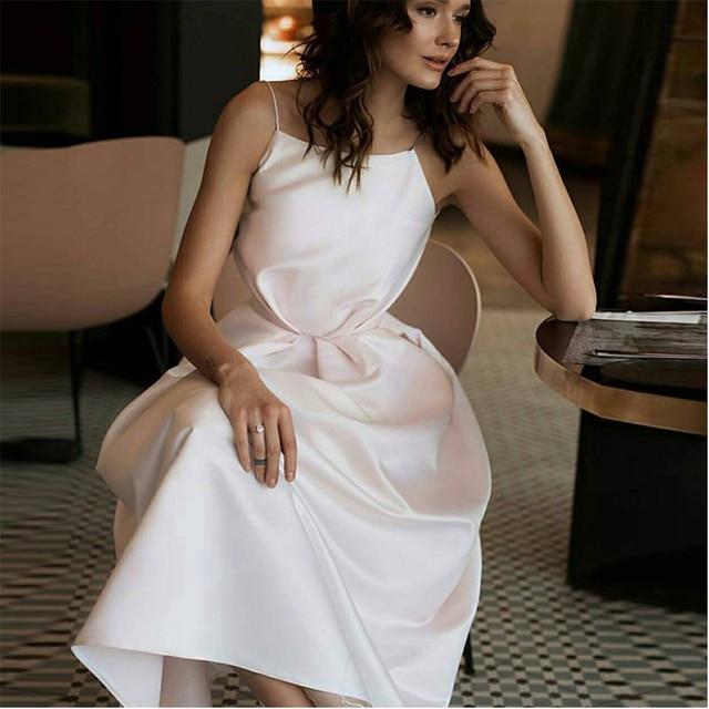 Ivory short plus size satin prom party evening dresses vestido de noiva sereia gown robe de soiree frock 2020 pleat spaghetti 2