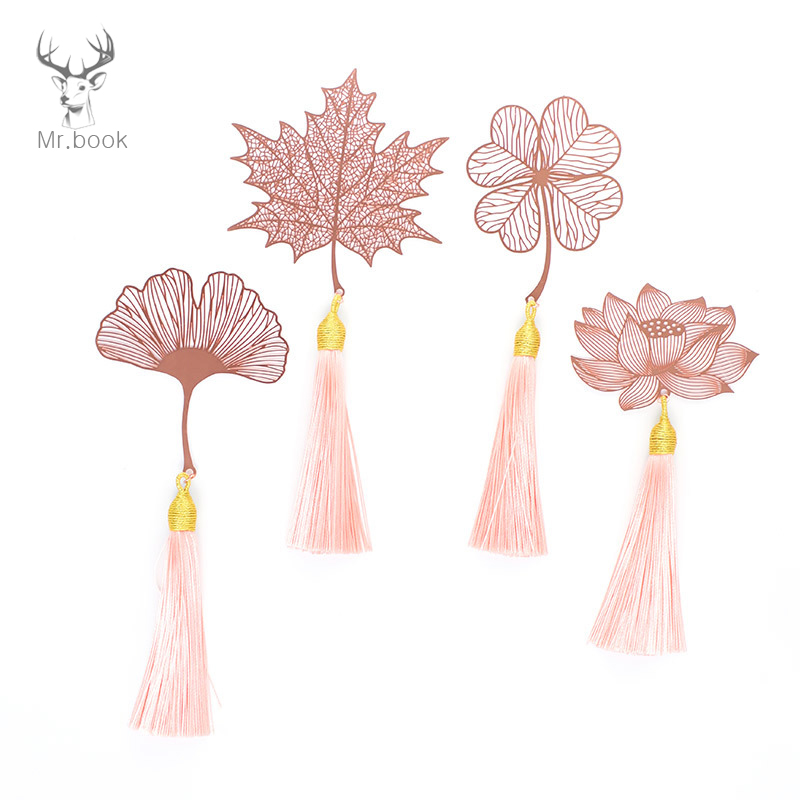 Rose Gold Bookmark Metal Hollow Maple Leaf Tassel Apricot Leaf Decor Book Note Decoration Stationery School Office Gifts