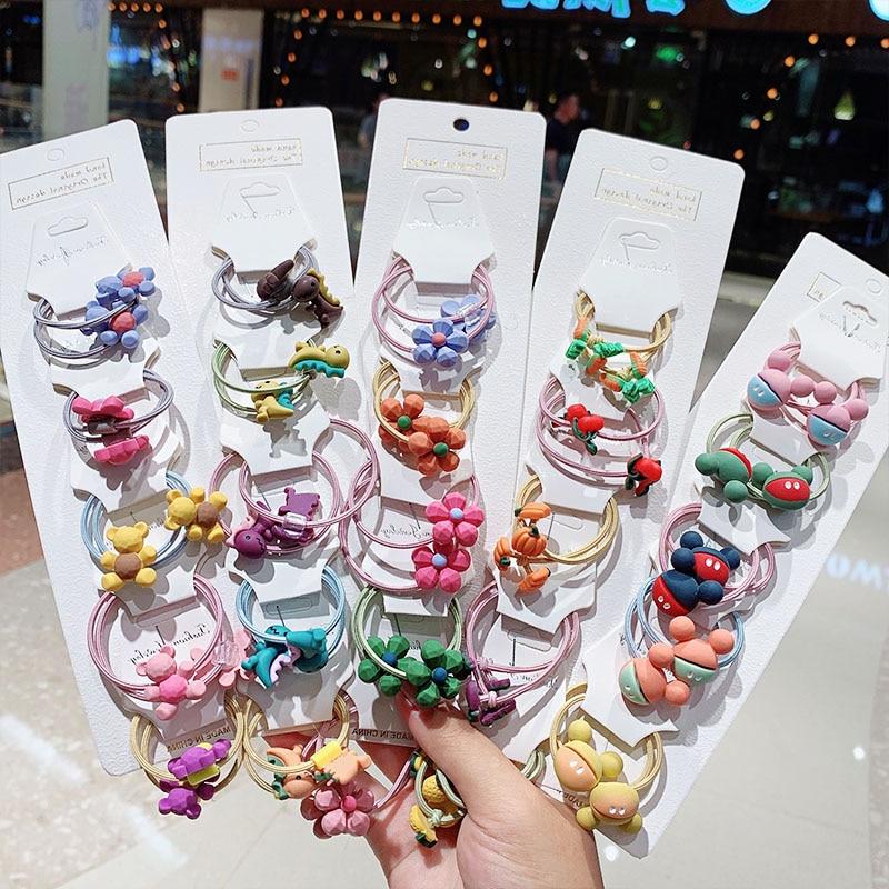 1Set New Girls Cute Cartoon Elastic Hair Bands Children Ponytail Holder Scrunchie Headband Rubber Bands Kids Hair Accessories