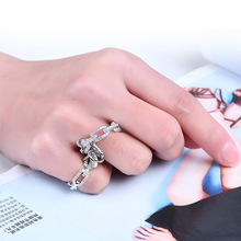 NJ Exaggerate Trendy Punk Woman Two Fingers Rings Gold Silver Chain Thin Ring For Jewelry Party