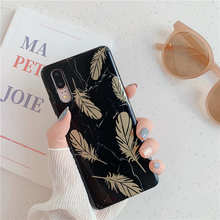 Gold Feather Black Marble Phone Case For Huawei P20 Lite P30 Pro Matte TPU Cover Mate 20 Soft IMD cases