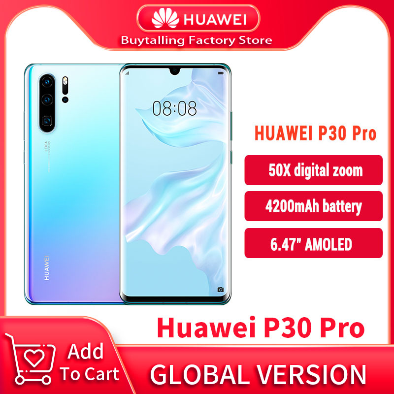 100% оригинальная глобальная версия Huawei P30 Pro мобильного телефона 6,47 ''8 Гб 256 Kirin 980 Octa Core Android 10 дюймов экран до 50x с переменным фокусным расстоян...