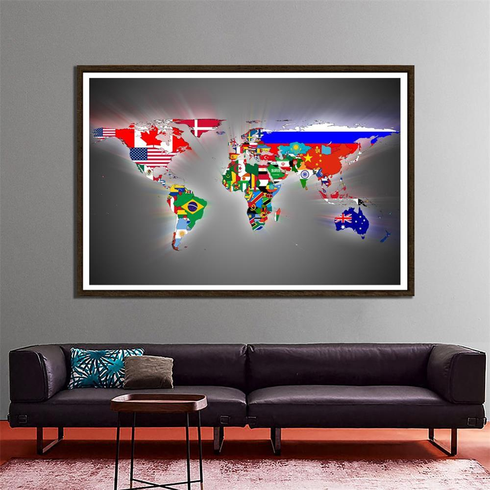 World Map Made Up Of National Flags Pattern 150x100cm Wall Decor Map Non-woven World Map For Home And Office Decor