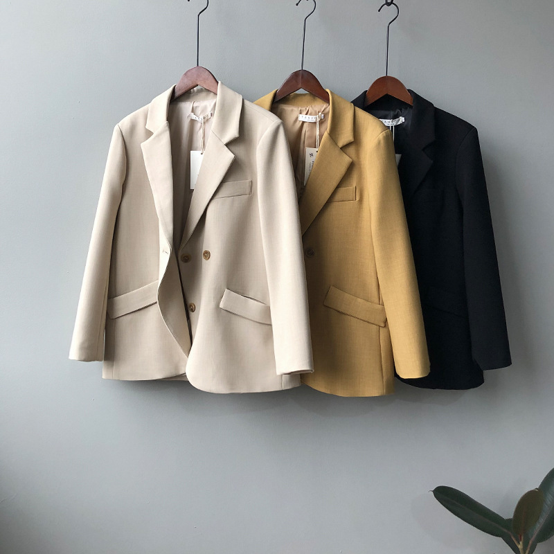 Two-button Buckle Loose Elegant Blazer Femme Women Korean Tops