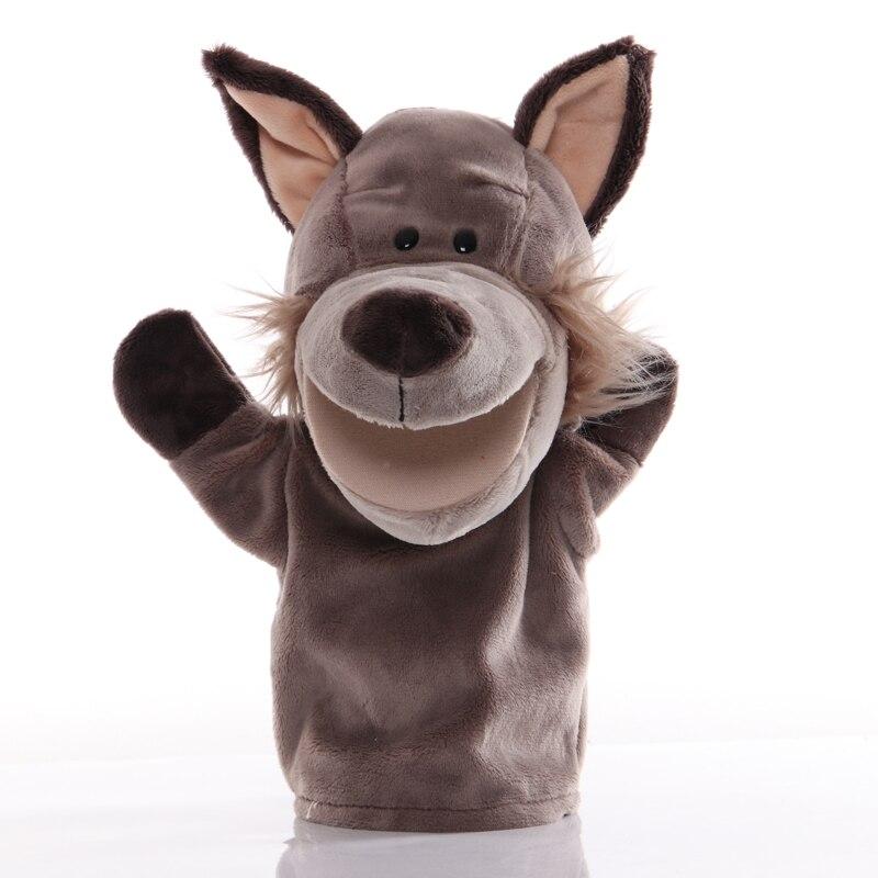 25cm animal mão fantoche lobo brinquedos de pelúcia bebê fantoches mão educacional dos desenhos animados fingir contar história boneca brinquedo para crianças