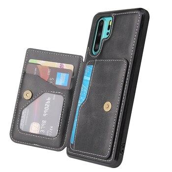 Nadaje się do Huawei etui na telefony komórkowe P30 P30Pro P40 P40Pro Mate30 Mate30Pro skórzane etui na karty jednolity kolor etui ochronne