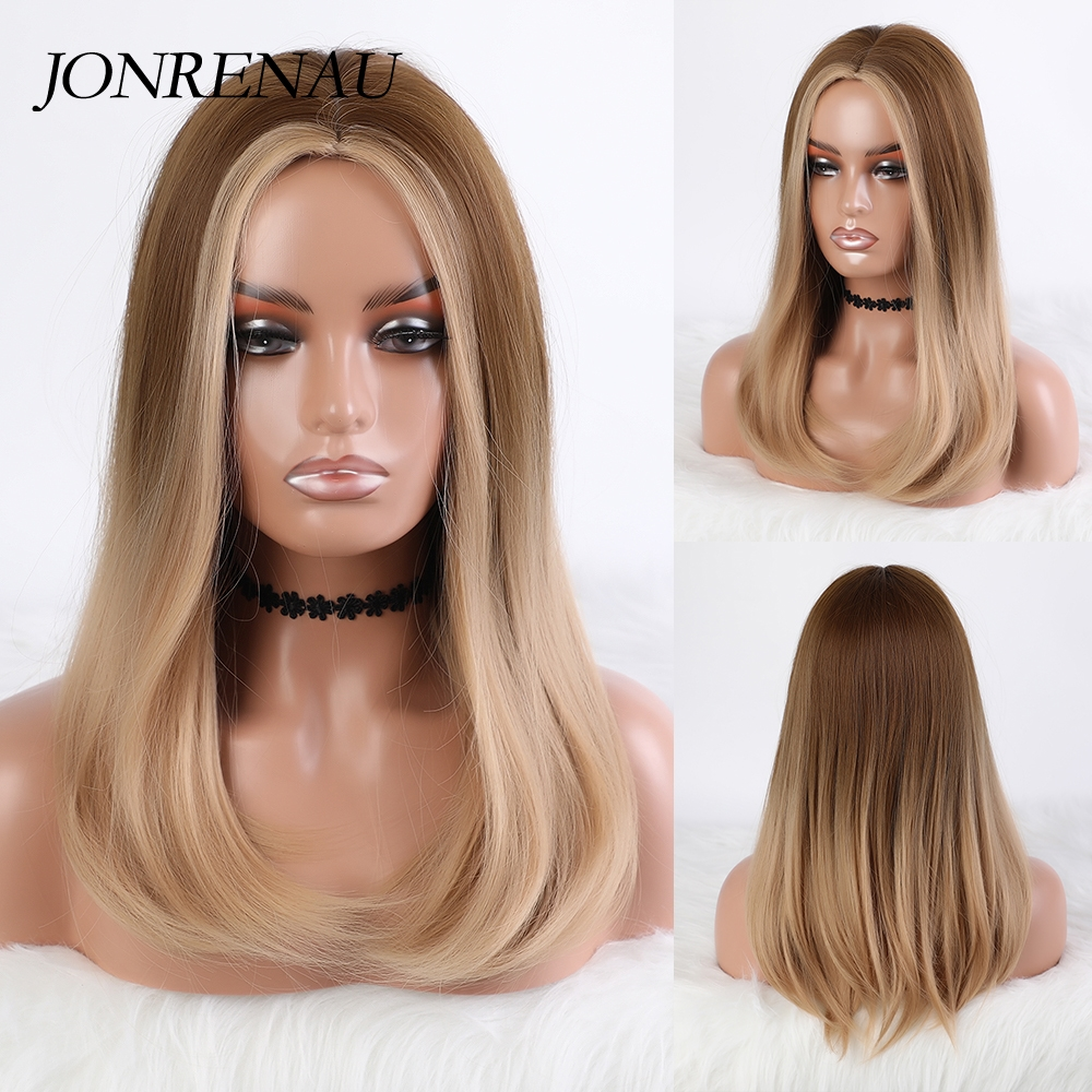 Jonrenau longo ombre luz cinza marrom loira ondulado peruca cosplay festa diário peruca sintética para mulher fibra de alta densidade temperatura
