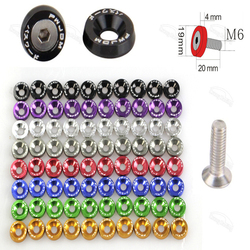 10pcs Car Modified Hex Fasteners Fender Washer Bumper Engine Concave Screws Aluminum JDM Fender Washers and M6 Bolt for Honda