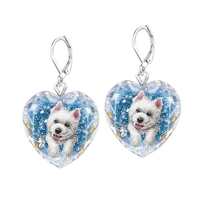 Dog Heart Crystal  Earrings 1