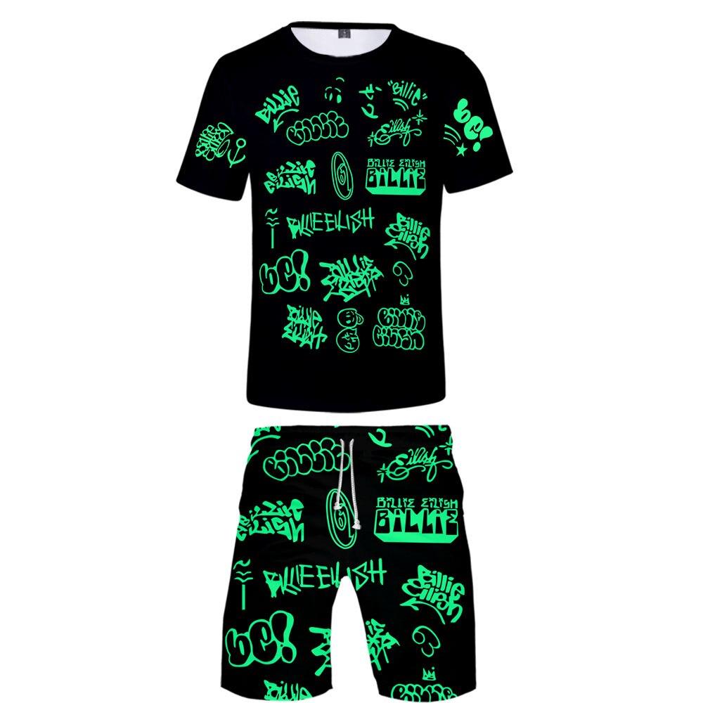 FRDUN TOMMY Billie Eilish 3D Suit Women Two Piece Set Shorts+ T-shirt Harajuku Concert Same Paragraph Hot Sale Sets