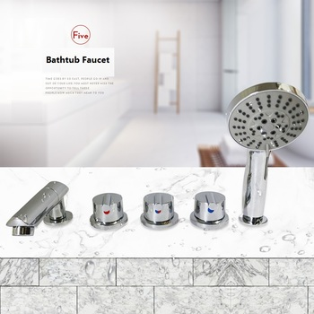 Grifo de latón de 5 agujeros para bañera, válvula de Control de agua caliente y fría, grifo mezclador de ducha para baño, juego de 5 piezas para bañera, grifo para Jacuzzi