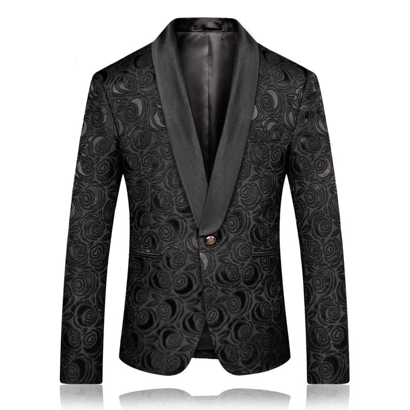 PYJTRL-Mens-Fashion-Black-Jacquard-Rose-Blazer-Slim-Fit-Suit-Jacket