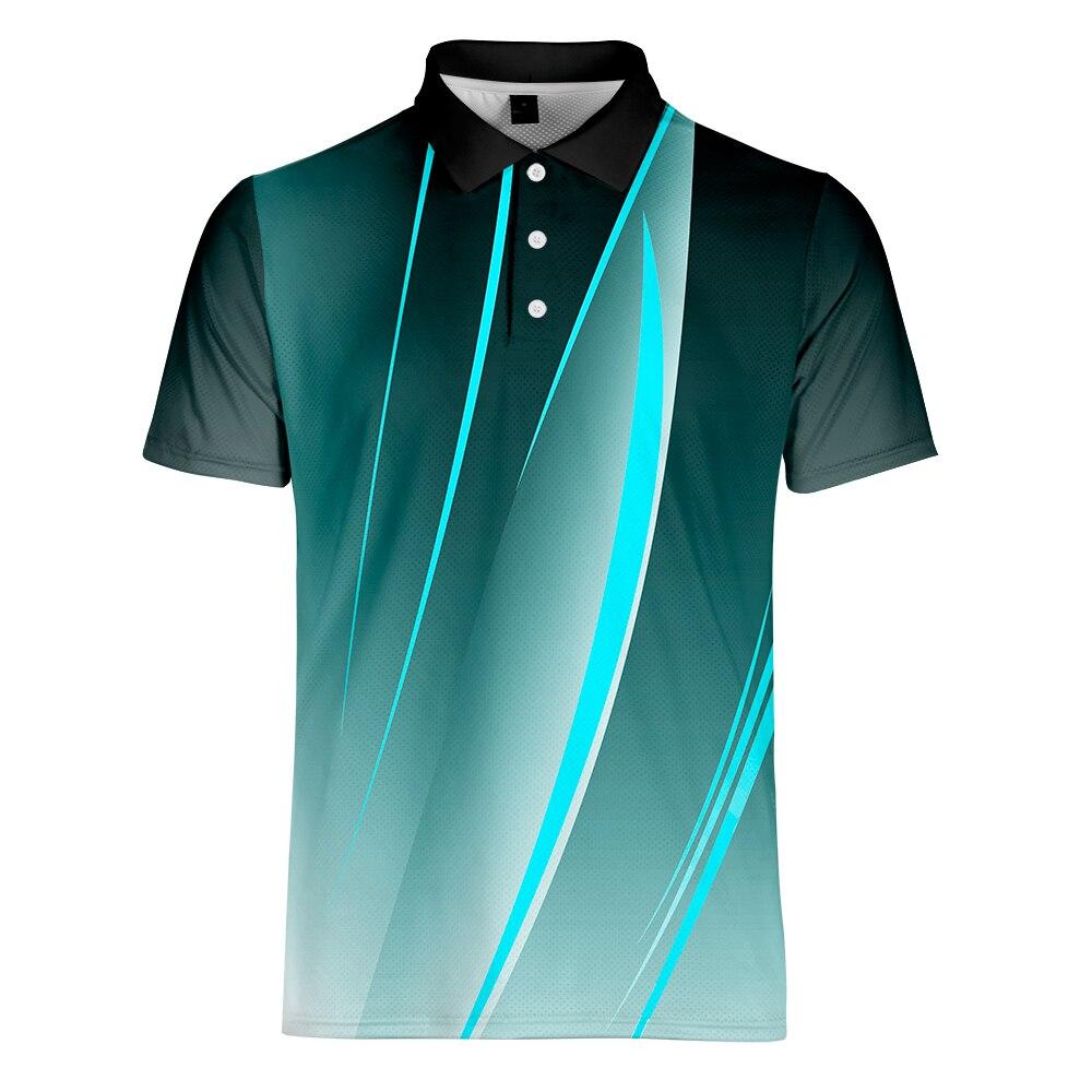 Erkek Kıyafeti'ten Polo'de WAMNI Erkekler çizgili Polo gömlek 2019 Iş Rahat Vücut Geliştirme Spor turn aşağı Yaka Degrade Kısa Kollu Polo gömlek S 4XL'da  Grup 1