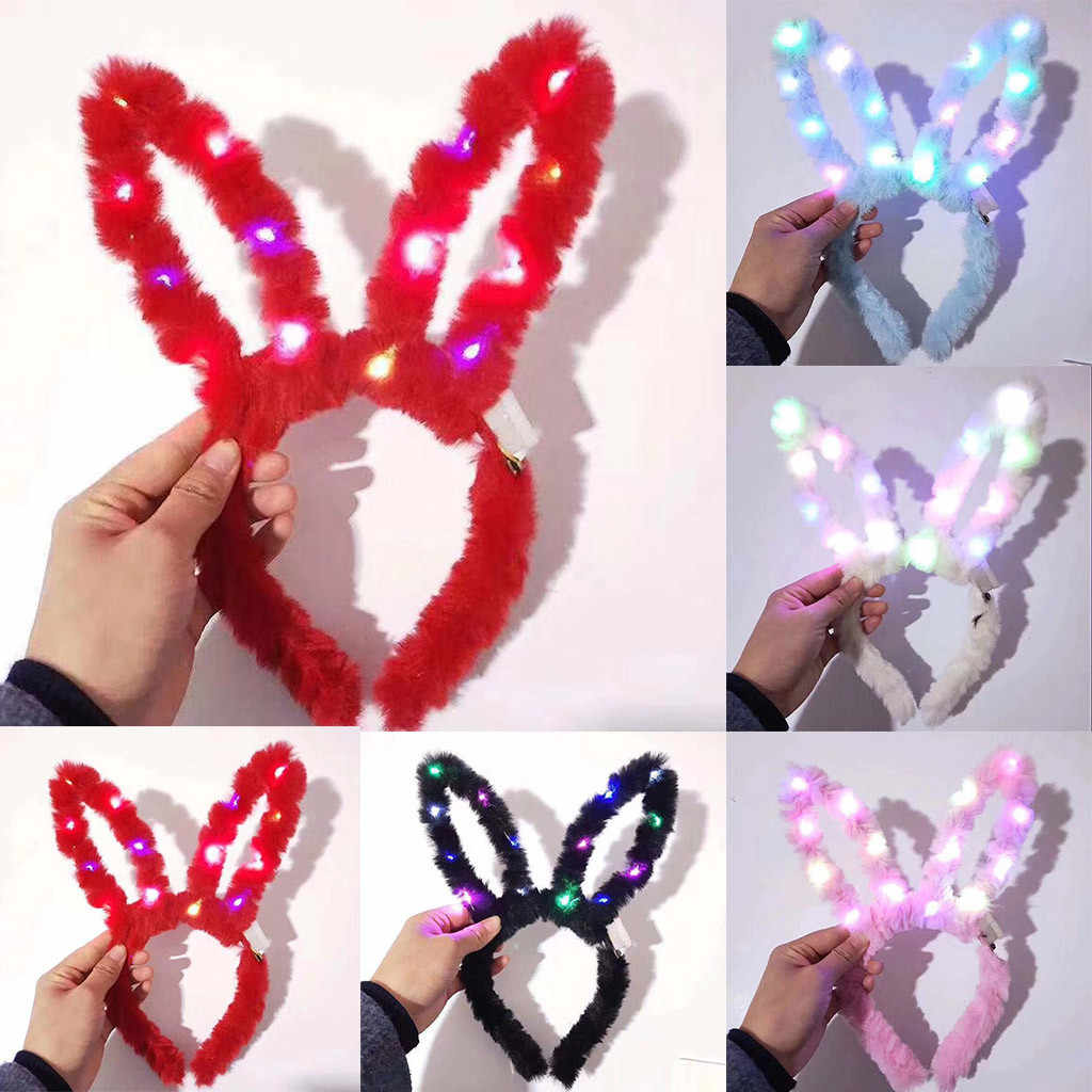 LED Peluche Delle Donne Accessori per Capelli Delle Signore Flash Raggiante di Coniglio Hairband Cute Girl Party Concerto Light Up Luminoso Ornamento Dei Capelli