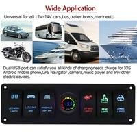 For Car Marine Boat 6 GANG Rocker Switch Panel Circuit Breaker LED Voltmeter RV Hot