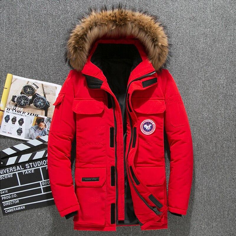 Hiver bas Parkas veste hommes blanc canard duvet manteau hommes épais neige Parka pardessus coupe-vent longue fourrure à capuche Parkas chauds