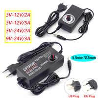 Power Adapter Adjustable Supply AC 100-220V to DC 3V-12V 3V-24V 9V-24V 2A 3A 5A Plug LED Driver Display Adaptor LED Strip Light