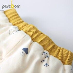 Image 5 - Pureborn conjunto de roupas para recém nascidos, casaco + calça, 2 peças, gola pétala, manga comprida, roupas grossas para criança, meninos e meninas, primavera inverno