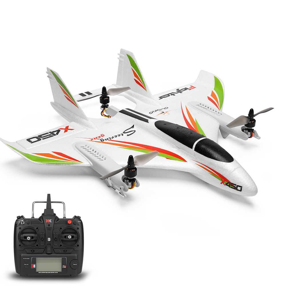 WLtoys XK X450 RC samolot RC Drone 2.4G 6CH 3D 6G bezszczotkowy pionowy start z oświetleniem LED puszczania samolotów RTF zdalnie sterowanego samolotu