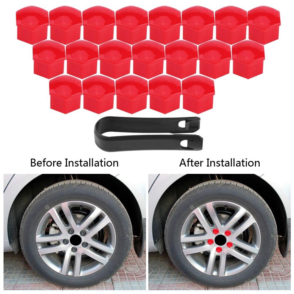 20×17mm Car Hub Screw Cover Car Wheel Nut Lug Dust Cover Caps Bolt Rims Tire Red