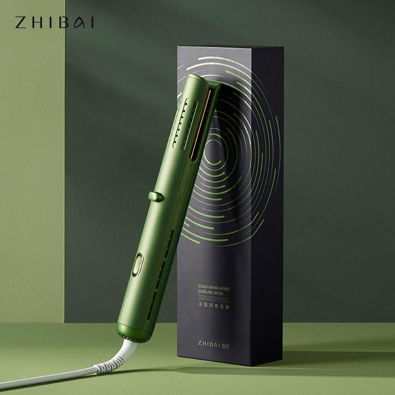 Щипцы для завивки волос ZHIBAI, зеленый термостат, холодный ветер, инструмент для укладки волос, бигуди