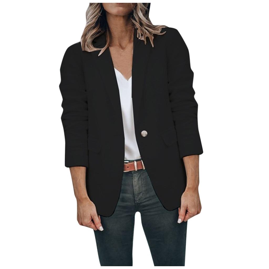 Women Office Worker Blazer White Long Sleeve Button Suit Jacket Coat Casual Outerwear Jacket Coats Blazer Feminino Tops Autumn