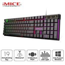 Проводная игровая клавиатура со светодиодной подсветкой, клавиатура с 104 клавишами, водонепроницаемая геймерская клавиатура, компьютерная имитационная механическая клавиатура