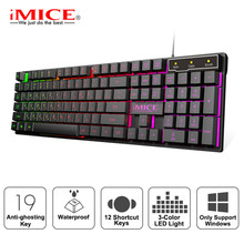 Wired Gaming Keyboard Led Backlit Keyboards 104 Keys Waterproof Keycaps Gamer Keyboards Computer Imitation Mechanical Keyboard