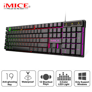 Image 1 - Wired Gaming Keyboard Led Backlit Keyboards 104 Keys Waterproof Keycaps Gamer Keyboards Computer Imitation Mechanical Keyboard