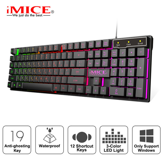 Wired Gaming Keyboard Led Backlit Keyboards 104 Keys Waterproof Keycaps Gamer Keyboards Computer Imitation Mechanical Keyboard