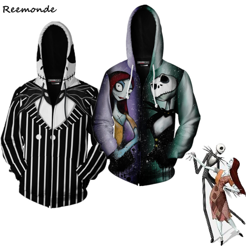 The Nightmare Before Christmas Hoodies Sweatshirts Cosplay Costume Hooded Clothes Jackets Skellington Sally Halloween Tops Men