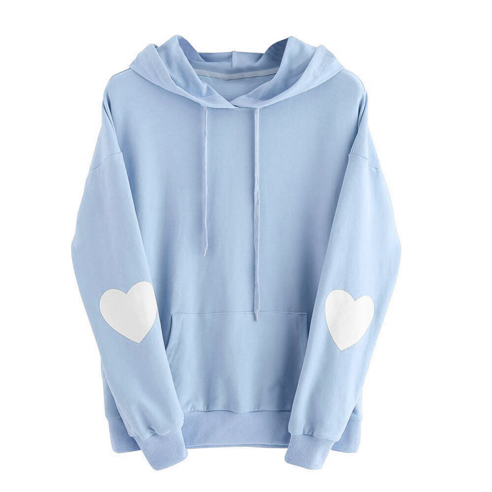 JAYCOSIN Fashion Women Casual Simple Solid Color Heart Hoodie Sweatshirt Long Sleeve Comfortable Soft Pullover Tops Blouse