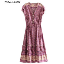 Dress Holiday Short-Sleeve Open-Buttons Floral-Print Bohemian Hollow-Out V-Neck Women