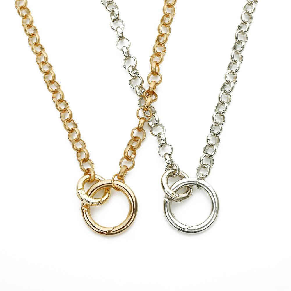 فاسق ميامي الكوبية المختنق قلادة الهيب هوب مجوهرات العصرية الحديد سلسلة سميكة دائرة قلادة النساء المشاركة الرقبة اكسسوارات