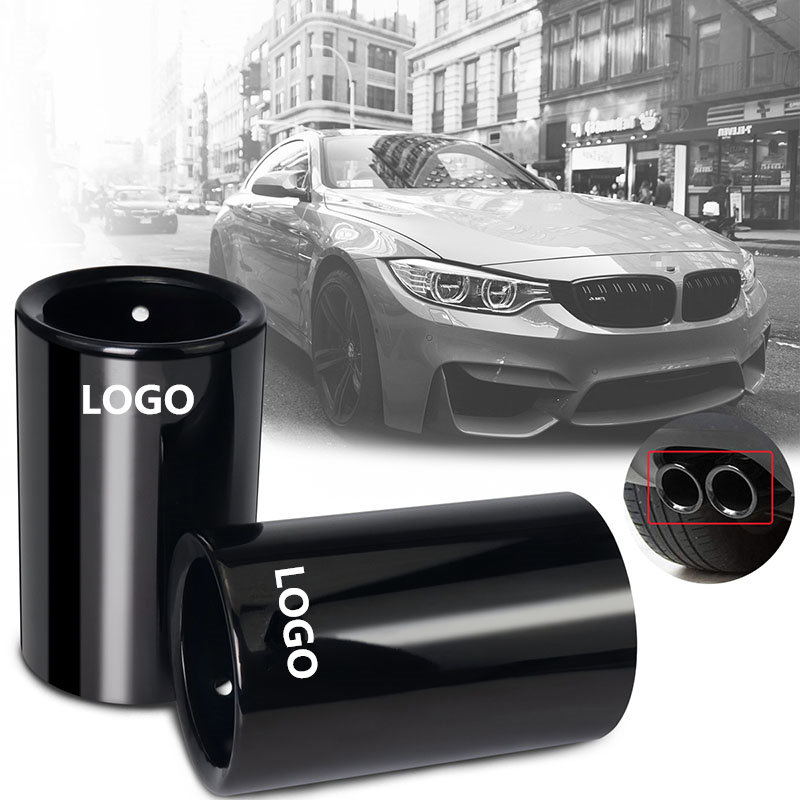 1pcs Car Styling For <font><b>BMW</b></font> <font><b>E30</b></font> E36 E46 E90 E91 E92 E93 F30 320i M Power LOGO Car <font><b>Exhaust</b></font> Pipe Muffler Tip Turbo Sound Whistle Aut image