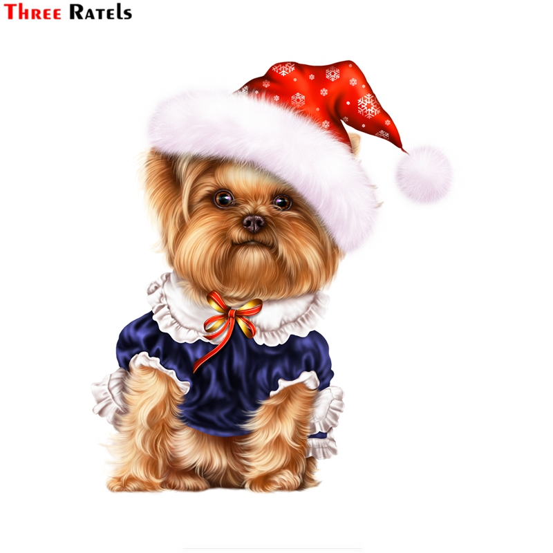 Three Ratels FTC-846# 14X16.1CM Cute Yorkshire Terrier Dog Stickers For Car Styling Bike Motorcycle Laptop Travel Luggage Decals