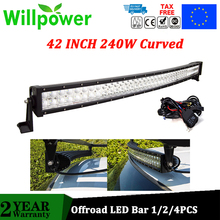 JEEPs 42 inch 240w combo waterproof IP67 offroad led work light car curved led light bars for trucks