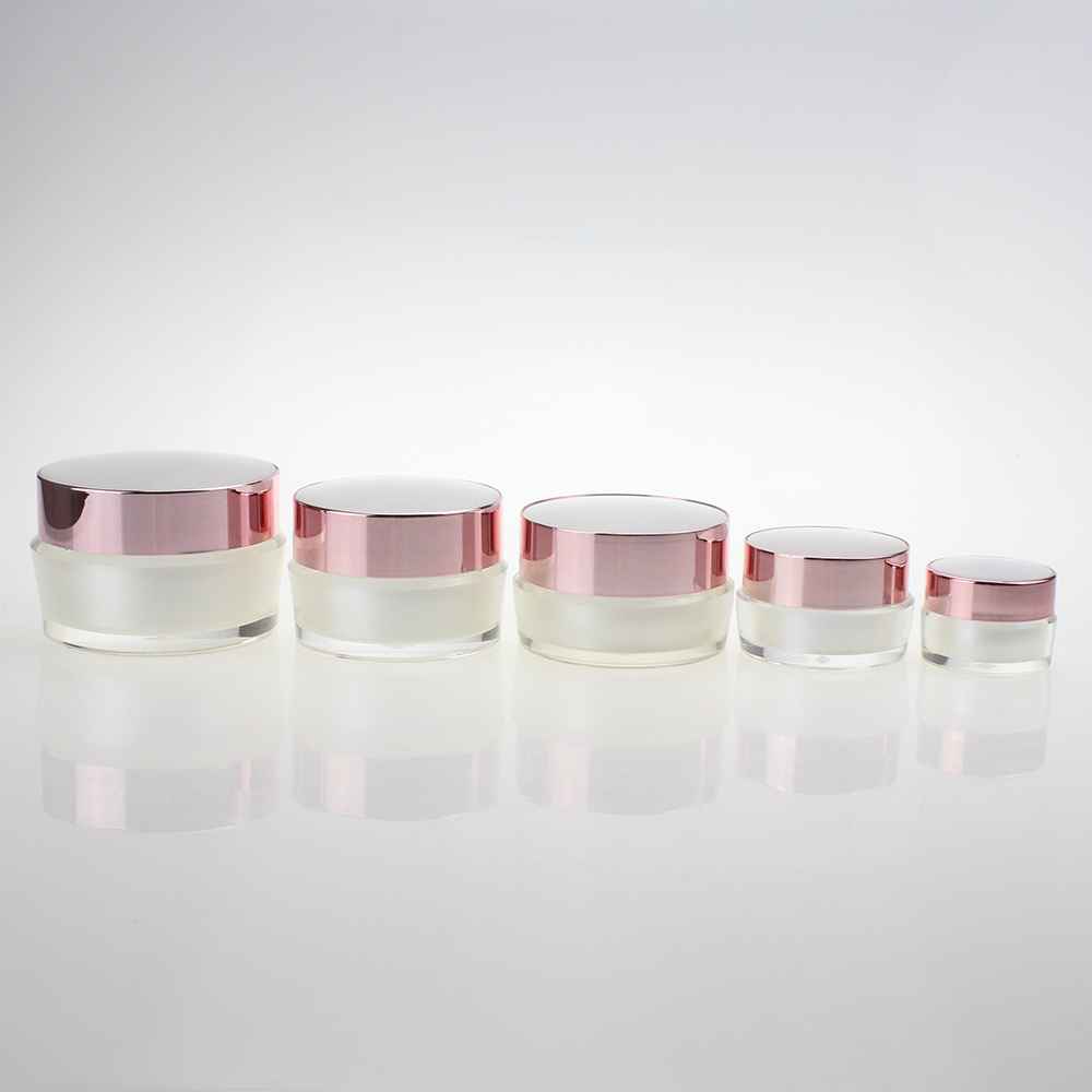 Mini Capacity 5g Pearl White Cream Jar With Rose Gold Cap,5ml Cosmetic Sample Jar