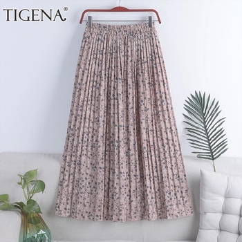 TIGENA Chiffon Long Pleated Skirt Women Fashion 2021 Summer Floral Print Holiday A Line High Waist Maxi Skirt Female Aesthetic 1