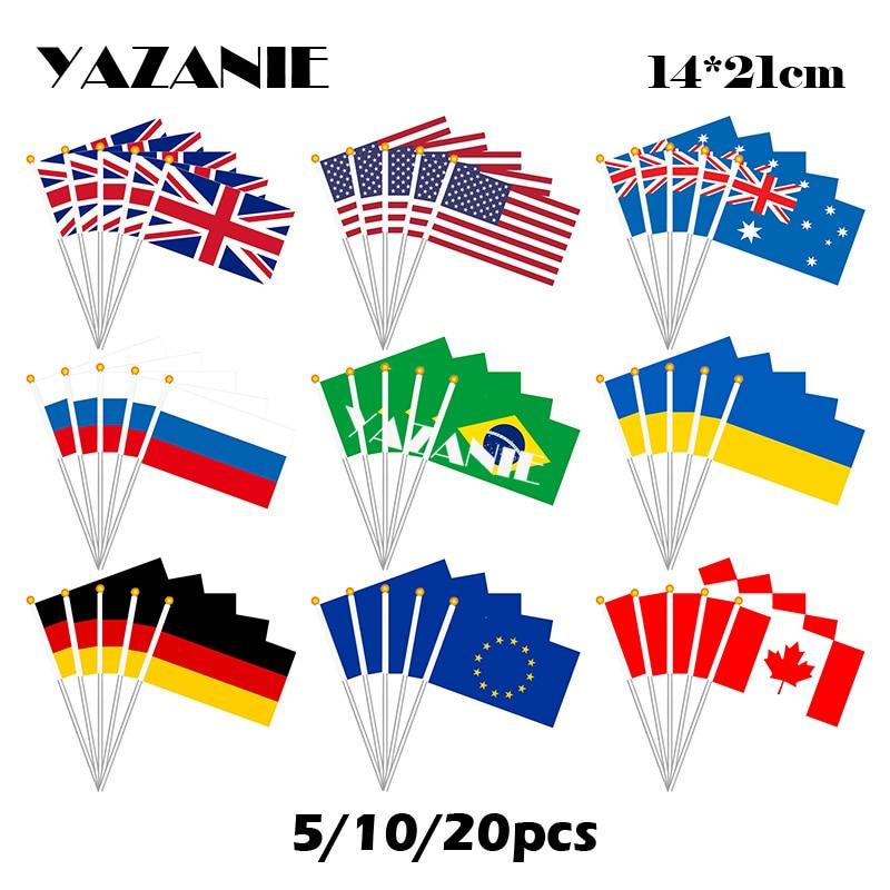 Yaztouca 14*21cm 5/10/20pcs, reino unido americano austrália brasil austrália europa europa união canadá pequena bandeira de mão