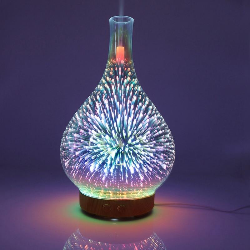 Увлажнитель воздуха 3D фейерверк стекло в форме вазы Арома эфирные масла диффузор тумана Ультразвуковой Освежитель воздуха для дома