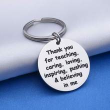 Thank You Keychain Gifts for Teacher Mom Dad Thanksgiving Day Graduation Appreciation Gift Stainless Steel Jewelry Pedant Gift(China)