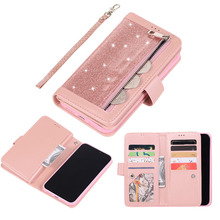 Zipper Glitter Leather Case For iPhone 11 Pro Max 2019 Wallet Card Magnetic Flip Cover Book Phone Cases for XR X XS
