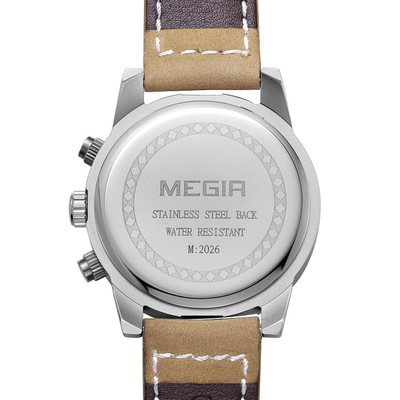MEGIR Military Watches Dive 30M Nylon Leather Strap LED Watches Men Top Brand Luxury Quartz Waterproof Shockproof Watch in Quartz Watches from Watches