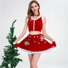 Женский Рождественский костюм из 2 предметов красный короткий