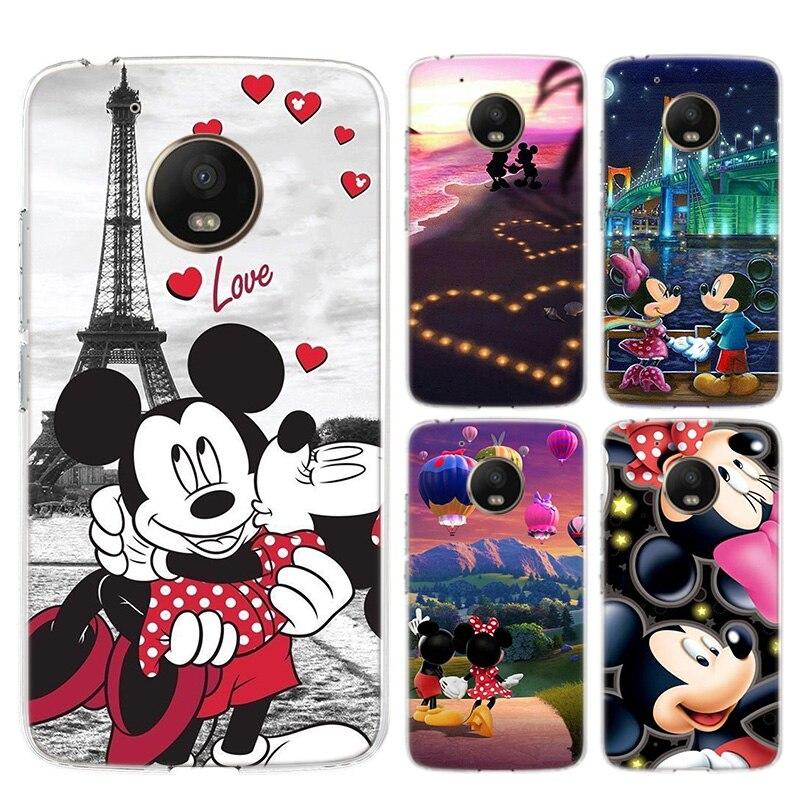 Cute Mickey Minnie Love Silicone Soft Case For Motorola Moto G8 G7 Power G6 G5 G5S E4 E5 Plus G4 Play Cover Coque